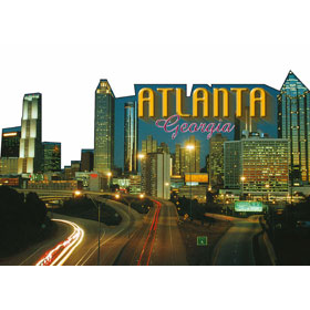 5X7 Die Cut Postcard GA Atlanta Night Skyline – Pack of 50 Postc
